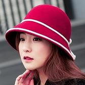 漁夫帽-時尚撞色白線綁繩毛呢女帽子4色72b46【巴黎精品】