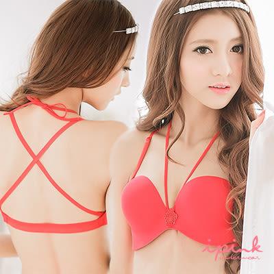 出清品-i PINK 時尚派對 半罩式美背無痕內衣褲(紅)