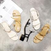 繽紛聖誕 韓范chic簡約圓頭套趾粗跟氣質涼鞋純色氣質低跟女鞋大碼