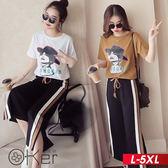 時尚女人印花短袖T恤+鬆緊腰七分寬管褲兩件套裝 L-5XL O-ker歐珂兒 169332