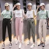 棉麻褲棉麻褲子少女生夏裝9初中高中學生韓版寬鬆薄款九分運動褲新年禮物