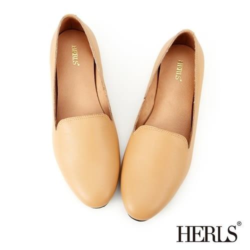 HERLS 平底鞋 全真皮 舒適柔軟 樂福鞋-駝色