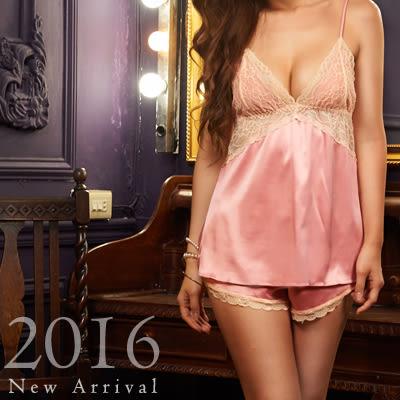 歐款睡衣-超軟撞色蕾絲緞布睡衣+睡褲、冰絲緞布-蜜桃洋房(兩件組)