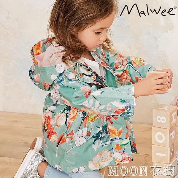 女童外套 外貿童裝女童春秋風衣連帽衫寶寶拉鍊衫1-8歲外套防風上衣碎花歐 快速出貨