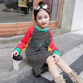 女童洋裝秋裝新款韓版休閒兒童長袖連帽T恤裙 預購商品