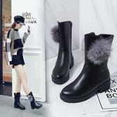 秋冬季靴子粗跟平底中跟中筒靴棉靴馬丁靴子女靴女士靴 【東京衣秀】