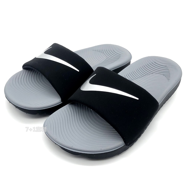 《7+1童鞋》NIKE Kawa Slide 黑灰撞色 親子款 輕量 拖鞋 G879 黑色