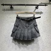 歐洲站新款 實拍短褲裙女 高腰百褶裙 大碼顯瘦 a字牛仔口袋 胖MM必備半身裙