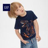 Gap男嬰幼童 柔軟妙趣圖案短袖圓領T恤 467045-海軍淺藍