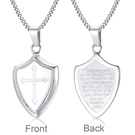 《QBOX 》FASHION 飾品【CPN-1084】精緻個性基督教光面經文十字架盾牌鈦鋼墬子項鍊/掛飾