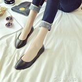黑色工作鞋女平跟皮鞋舒適平底淺口單鞋酒店職業上班圓頭套腳瓢鞋  薔薇時尚