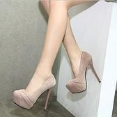 夜場女鞋子新款2021夏季細跟防水臺高跟黑色車展性感夜店恨天高鞋 【夏日新品】