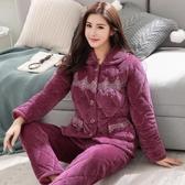 冬季三層加厚加絨珊瑚絨夾棉睡衣女中老年法蘭絨秋冬天家居服套裝