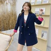 中大尺碼外套 韓版西裝外套撞色雙排扣寬鬆顯瘦 L-5XL #cd0089 ❤卡樂❤