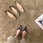 軟皮尖頭單鞋女女士豆豆鞋軟底春款百搭平底鞋春【慢客生活】