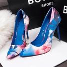 快速出貨 法式少女高跟鞋女網紅細跟碎花尖頭百搭一體跟性感女神超燙單鞋