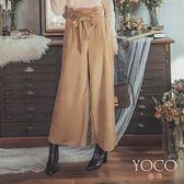 東京著衣【YOCO】微熟優雅高腰綁帶絨面長褲-S.M.L(172478)