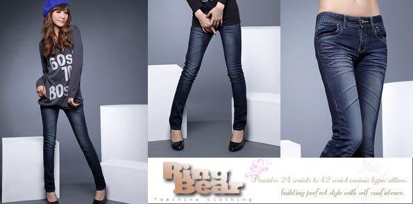窄管褲--完美修長細直比例刷白鬼爪痕深藍色調窄管靴型褲/鉛筆褲(S-7L)-N27眼圈熊中大尺碼