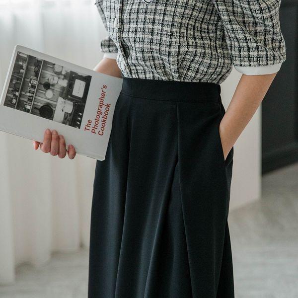 MIUSTAR 飄逸感!前壓褶鬆緊腰滑布寬褲(共2色)【NH1162】預購