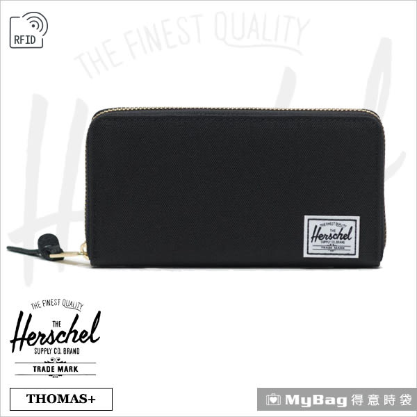 Herschel 皮夾 長夾 全拉鍊長夾 可放手機 防盜 黑色 Thomas+-001 (新版) 得意時袋