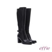 effie 保暖靴 素面牛皮金裝飾扣長靴  黑軟皮