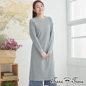 【Tiara Tiara】針織開衩長袖單色洋裝(灰)