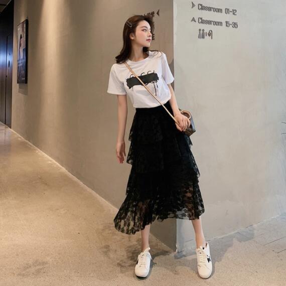 洋裝 韓版 短袖T恤+鬆緊腰蕾絲半身裙 蛋糕裙 兩件式套裝 花漾小姐【預購】