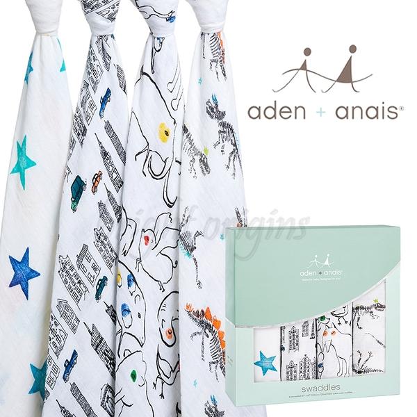 美國Aden+Anais 輕鬆抱寶寶包巾(四入裝) 童趣塗鴉款2068
