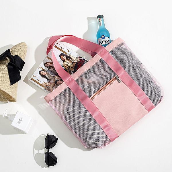 手提肩背網格沙灘包 旅行收納袋 購物袋 收納包 手提包 洗漱包 網格收納袋旅行包【RB581】