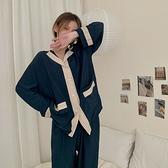 2021年夏季新款韓版寬松休閑長袖家居服女舒適親膚睡衣兩件套裝潮 【快速出貨】