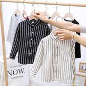 男童長袖襯衫新款童裝兒童條紋春款翻領襯衣小童寶寶上衣韓版春裝-ifashion
