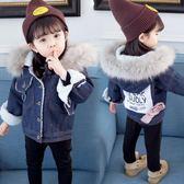 女寶寶加絨牛仔外套新款韓版兒童羊羔絨加厚上衣冬裝洋氣棉衣
