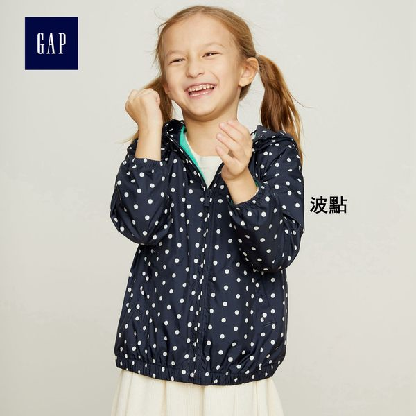 Gap女嬰幼童 印花針織襯裡防風外套 402686-波點