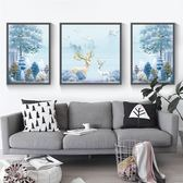 壁畫 北歐壁畫客廳裝飾畫大氣麋鹿沙發后面的背景墻畫現代簡約掛畫三聯【諾克男神】
