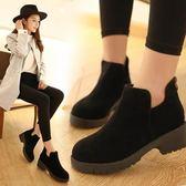 短靴女 新款韓版短靴女春秋單靴冬季百搭圓頭裸靴馬丁靴粗跟學生女靴 全館免運