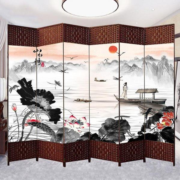 中式屏風隔斷簡易折疊客廳玄關牆移動折屏簡約現代辦公室實木屏風 xw