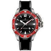 Hamilton 漢米爾頓 卡其海軍鈦金屬蛙人機械錶-紅圈x黑/46mm H77805335