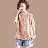 短袖 含棉大碼文藝休閒刺繡T恤女寬鬆顯瘦短袖上衣夏裝新款韓版女