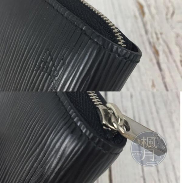 BRAND楓月 LOUIS VUITTON LV M60152 黑色 EPI 橫紋 水波紋 卡夾 零錢包