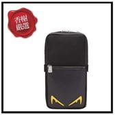 FENDI黃銀眼胸口斜背包/大款黑色全新商品