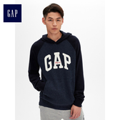 Gap男裝 時尚Logo連帽長袖套頭休閒上衣 474796-海軍藍色
