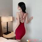 露背洋裝連身裙女2021春夏新款開叉鏤空大露背性感吊帶裙修身包臀打底裙潮 愛丫 免運