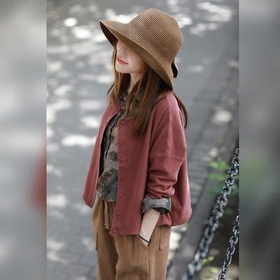 毛衣外套 厚紗織 單排扣 長袖開衫外套/2色-夢想家- 0918