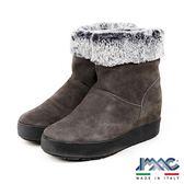 【IMAC】義大利進口毛飾磨砂皮革內增高厚底短靴/女靴  深灰色(207431-DGY)