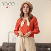 東京著衣【YOCO】輕甜柔美撞色蝴蝶結領坑條針織上衣(191952)