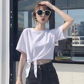 露肚臍上衣-短款短袖t恤女2020夏季新款韓版寬鬆高腰綁帶露肚臍性感上衣潮ins Korea時尚記