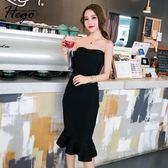 2018新款時尚修身針織包臀魚尾裙性感抹胸連衣裙黑色中長小禮服女