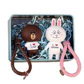 年終盛宴  鈴鐺公仔情侶鑰匙扣可妮兔男女生創意情人節禮物包掛件掛飾  初見居家