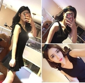 露背洋裝 超短連身裙女夏新款小個子韓版學生夏季露背背心吊帶沙灘裙子 交換禮物