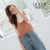 Queen Shop【01150119 】粗針織短版背心 兩色售*現+預*